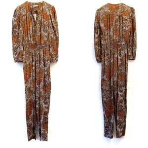 Vintage 80's Style Mixed Paisley Cheetah Jumpsuit